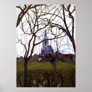Mondrian - Village Church Poster