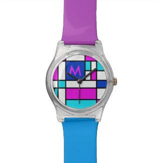 Mondrian Violet Purple Blue Watch