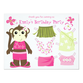 Moneky Doll Party Favor 17 Cm X 22 Cm Invitation Card