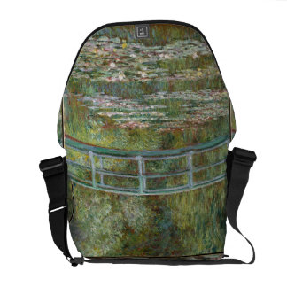 Monet Art Bridge over a Pond of Water Lilies Courier Bags