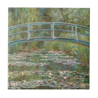 Monet Art Bridge over a Pond of Water Lilies Small Square Tile