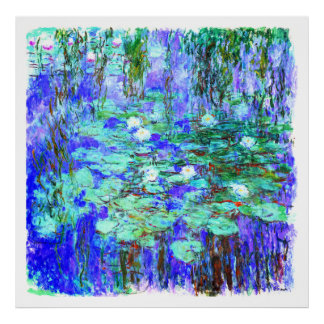 Monet = Blue Water Lilies - Impressionist Painting Poster