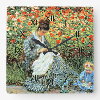 Monet: Camille Monet and Child Square Wall Clock