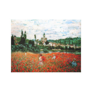 Monet Field of Red Poppies Gallery Wrapped Canvas