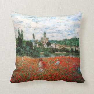 Monet Field of Red Poppies Throw Pillow