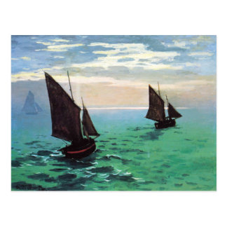 Monet Fishing Boats at Sea Postcard