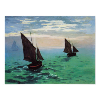 Monet Fishing Boats at Sea Poster