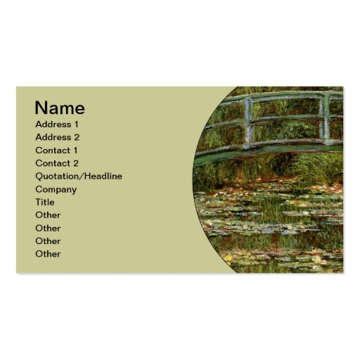 Monet French Japanese Bridge Impressionist Business Card Template