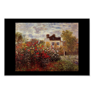 Monet garden blossoms vintage old painting artist poster