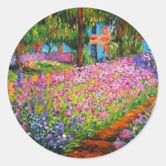 Monet Iris Garden Design with Pink Background Round Sticker