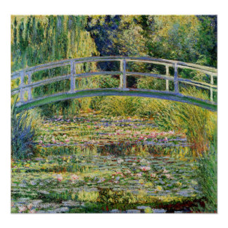 Monet Japanese Bridge with Water Lilies Poster
