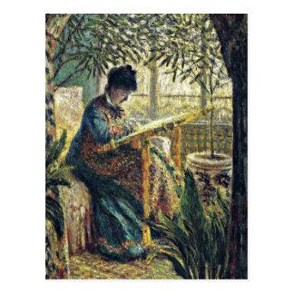 Monet - Madame Monet Embroidering Postcard