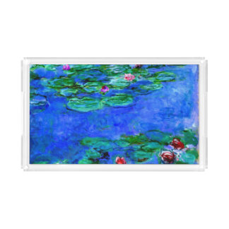 Monet painting, Water Lilies (red) Acrylic Tray