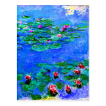 Monet painting: Water Lilies, Red artwork Postcard
