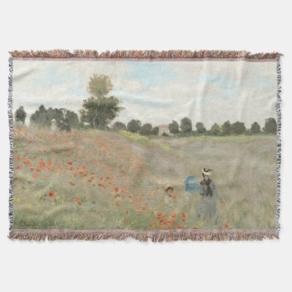 Monet Poppy Field Meadow Flowers Throw Blanket
