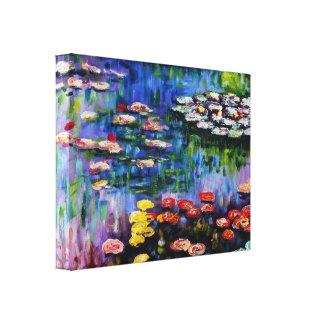 Monet Purple Water Lilies Stretched Canvas Prints