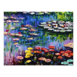 "Monet Purple Water Lilies Invitations 4.25"" X 5.5"" Invitation Card"