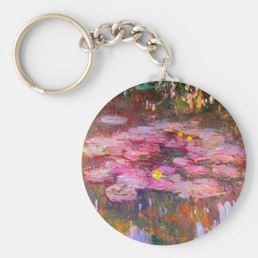 Monet Purple Water Lilies Key Chain
