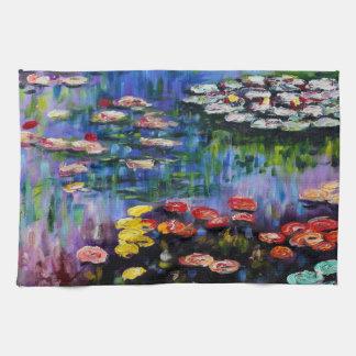 Monet Purple Water Lilies Kitchen Towel
