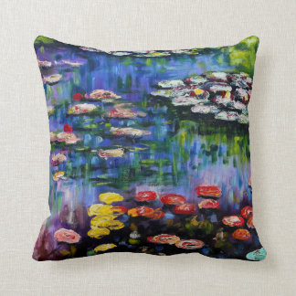 Monet Purple Water Lilies Pillow Cushions