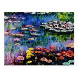Monet Purple Water Lilies Postcard
