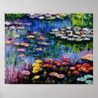Monet Purple Water Lilies Poster