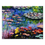 Monet Purple Water Lilies Print Photo