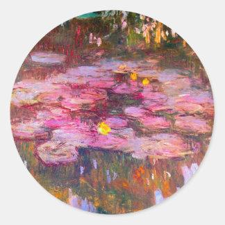 Monet Purple Water Lilies Stickers
