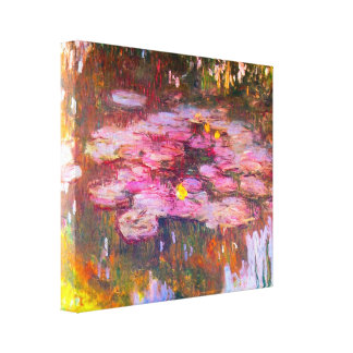 Monet Purple Water Lilies Stretched Canvas Prints