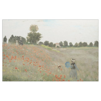 Monet Red Poppy Field Wildflower Flowers Fabric