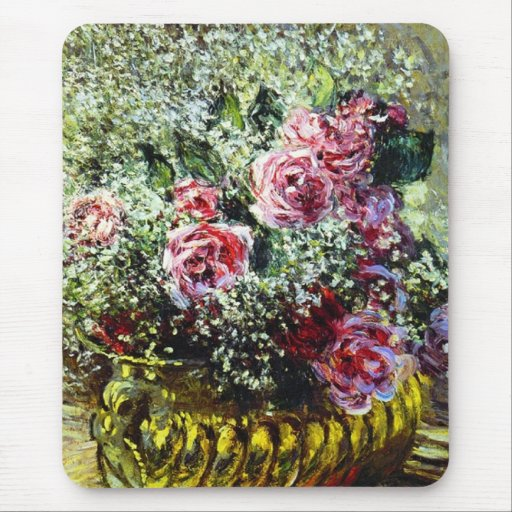 Monet Roses Mouse Pad