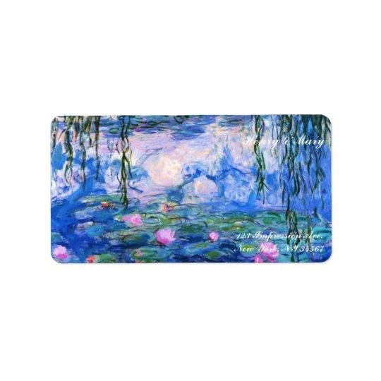 Monet's Water Lilies Address Label