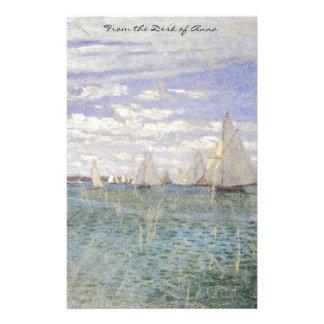 Monet Sailboats Race Impressionism Stationery