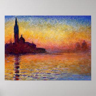 Monet - San Giorgio Maggiore at Dusk Poster