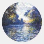 Monet Seine River Fine Art Sticker Round Sticker