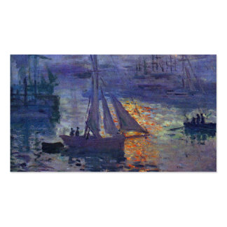 Monet sunrise at sea sailboat painting boating art Double-Sided standard business cards (Pack of 100)
