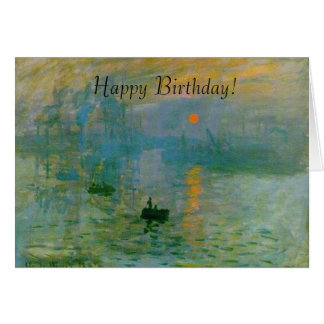 Monet Sunrise Painting Happy Birthday Card