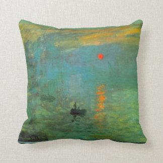 Monet Sunrise Painting Pillow