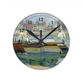 Monet - The Seine at Asnieres Round Clock
