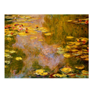 Monet - The Water Lily Pond, Yellow Lily Pads Postcard