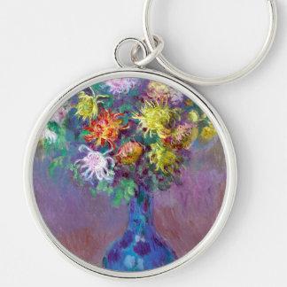 Monet Vase de Chrysanthemes Flowers Key Chains