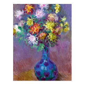 Monet Vase de Chrysanthemes Flowers Postcard