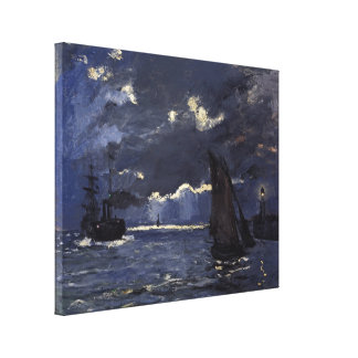 Monet Vintage A Seascape Shipping by Moonlight Canvas Print