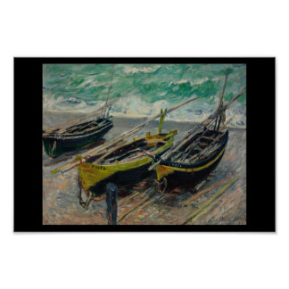 Monet vintage old painting boats water poster
