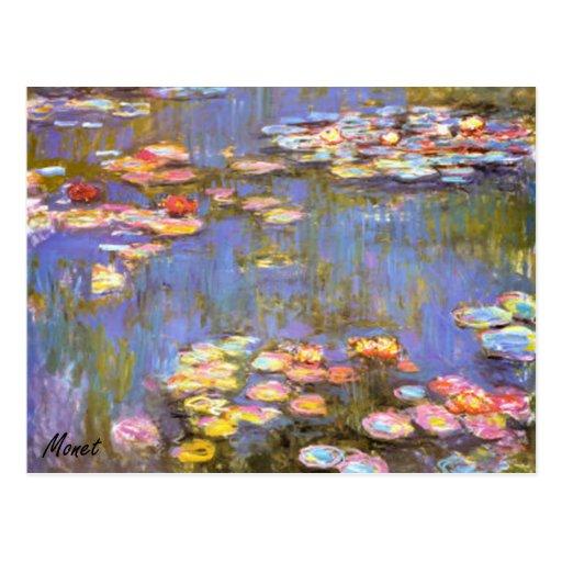 MONET Water Lilies 1916 brite hues POSTCARD