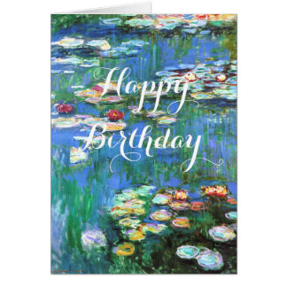 Monet Water Lilies Birthday Card