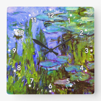 Monet Water Lilies Clock in Blue, Green & Lavender