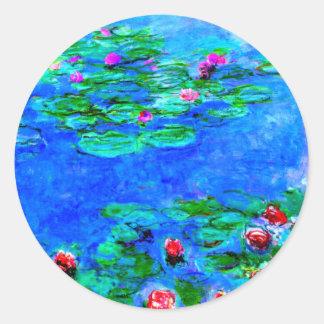 Monet: Water Lilies Red artwork Classic Round Sticker