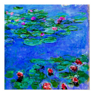 Monet: Water Lilies (red), Claude Monet painting Poster