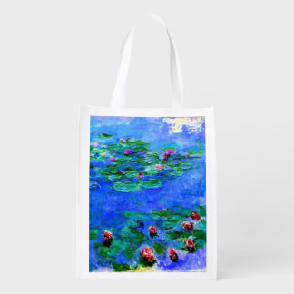 Monet - Water Lilies (red) Reusable Grocery Bag